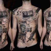 Black ink photoshop style chest and belly tattoo of lettering with camera and gun