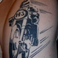 Black ink racer on a motorcycle tattoo