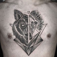 Black ink separated chest tattoo of animal skull with wolf head and geometrical figures