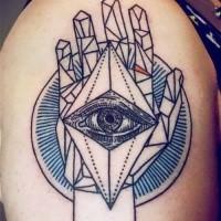 Schwarzes Schulter Tattoo der menschlichen Hand mit Auge Tattoo im geometrischen Stil
