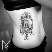 Black ink side tattoo of R2D2 Star Wars droid