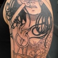 Black ink sketch style big shoulder tattoo of Justice woman with libra and sword