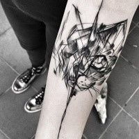 Black ink sketch style forearm tattoo of black cat by Inez Janiak