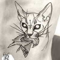 Black ink sketch style side tattoo of cat with dead bird