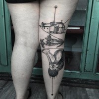 Black ink thigh tattoo of little house with flowers and little baby