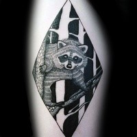 Black ink thigh tattoo of raccoon on forest tree