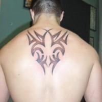 tribale fleur de lis inchistro nero tatuaggio sulla schiena