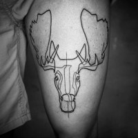 Black ink tribal thigh tattoo of elk head