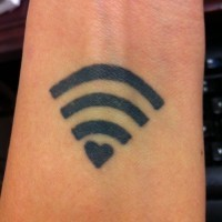 Black ink wi fi love symbol geek tattoo