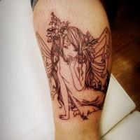 Black lines cute fairy tattoo on leg