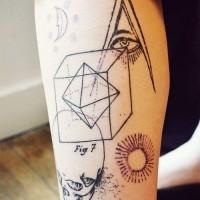 Black lines geometric with skull tattoo on hip