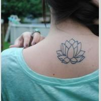Black lines lotus flower tattoo on back