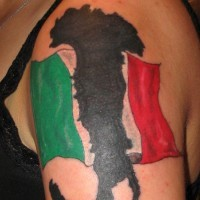 Black map and flag of italy tattoo on shoulder