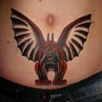 Black red gargoyle tattoo on stomach by valeriy letov