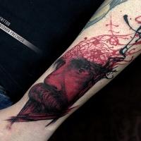 Black red portrait of Friedrich Nietzsche forearm tattoo