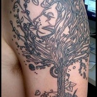 Black tree tattoo on half sleeve for men