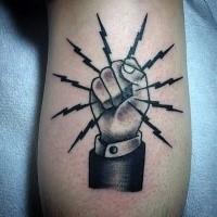 Black very detailed leg tattoo of lineman symbol