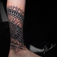 Black work with geometric stuff tattoo