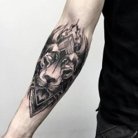 Blackwork style awesome forearm tattoo of mystical lion