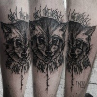Blackwork style by Inez Janiak forearm tattoo of raccoon with lettering
