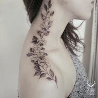 Blackwork style cool painted by Zihwa shoulder and neck tattoo of flowers and leaves