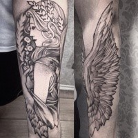 Blackwork style detailed forearm tattoo of angel woman