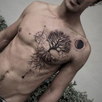 Blackwork style fantastic looking chest and belly tattoo of tree with lettering and clock