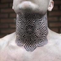 Tatuaggio alla gola dall'aspetto incredibile stile blackwork di ornamento floreale