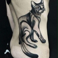 Blackwork style large painted by Michele Zingales side tattoo of mystic cat