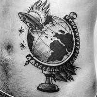 Blackwork style original looking belly tattoo of globe with burning alien ship
