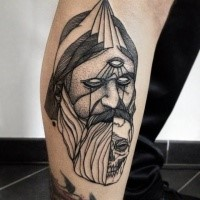Blackwork style painted by Michele Zingales leg tattoo of mystical portrait with skull