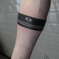 Blackwork style simple arm tattoo of lines stylized with small bee