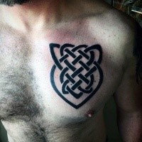 Blackwork style typical Celtic knot tattoo on chest