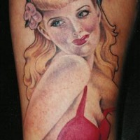 Blonde in red dress pin up tattoo by Aaron Bell