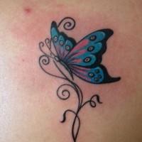 bellissima farfalla blu tatuaggio modello per femmine