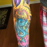 Blue indian ganesha full sleeve tattoo