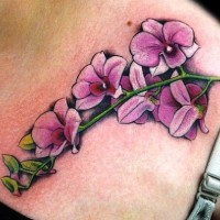 Branch of purple orchids tattoo on shoulder blade
