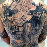 Breathtaking black and white colored old pirate themed tattoo on whole back