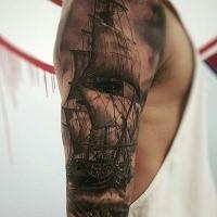 Breathtaking detailed shoulder tattoo of large sailing ship