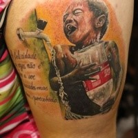 Breathtaking looking colored thigh tattoo of boy with water bottle with lettering