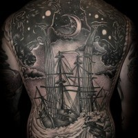 Breathtaking massive very detailed nautical tattoo on whole back