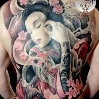 mozzafiato multicolore triste geisha asiatica con fiori tatuaggio pieno di schiena