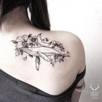 Breathtaking painted by Zihwa linework tattoo of big whale with flowers