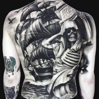 Breathtaking painted very detailed massive nautical tattoo with ship and skeleton on whole back