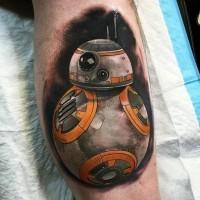 Tatuaje en la pierna, droide BB-8 realista de varios colores