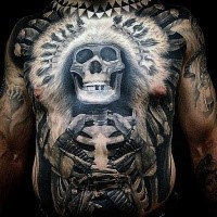 Breathtaking realism style large whole chest and belly tattoo of Indian warrior skeleton with axes