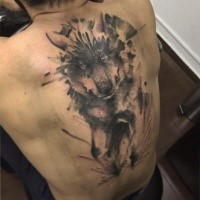 Breathtaking realistic looking whole back tattoo of large wolf