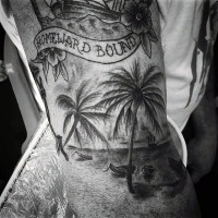 Breathtaking very detailed black ink sea shore with palm trees tattoo on arm