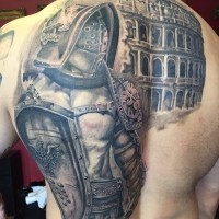 Breathtaking very detailed whole back tattoo of gladiator warrior with Roman arena