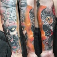 Breathtaking zombie apocalypse themed colored forearm tattoo of man in gas mask and zombie face